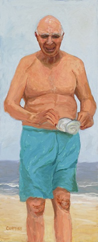 "Ellarslie Open  Juried Show selection "" Man with Clam""  from the  Jersey Shore Series"