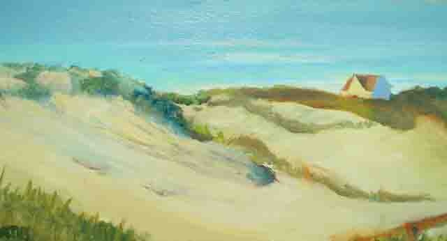 "Seaside Park NJ  hit by ""Sandy"" is preserved in paintings  like ""Dunes""  in my Jersey Shore Series"