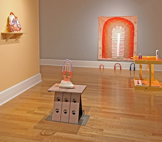 "Installation view of the Orange Room in ""Day Person"", Sumter County Gallery of Art"