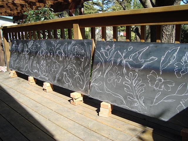 Drawing on steel panel
