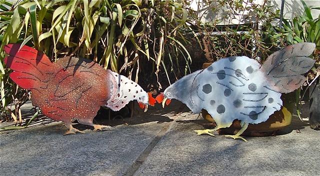 Hand painted steel garden roosters