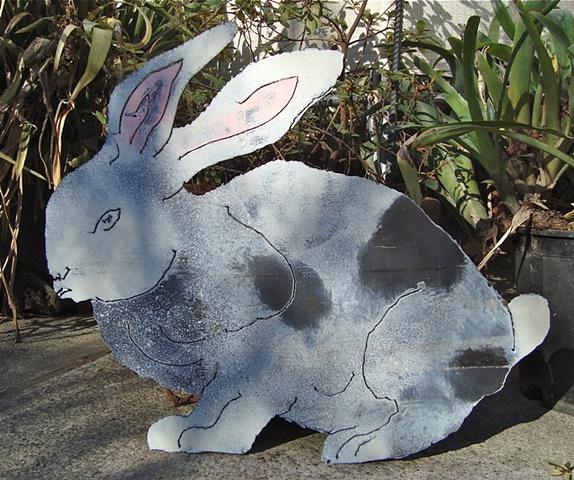 Painted steel garden rabbit