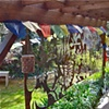 Steel garden screens keeping company with prayer flags