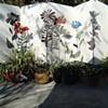 Outdoor display of steel garden objects