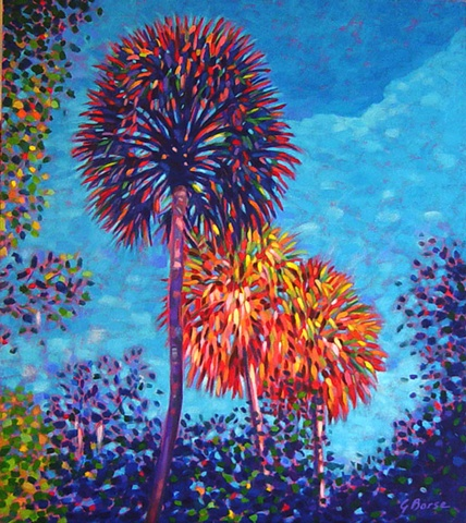 Florida Fireworks painted by Florida Artist Gary Borse