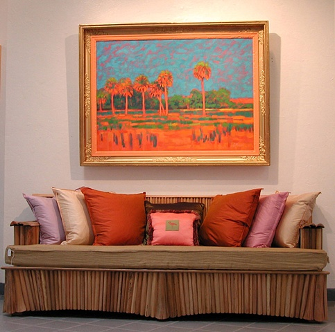 """Sunrise at Orange Creek"" by Gary Borse with Ty Tyson Palm Frond Furniture"