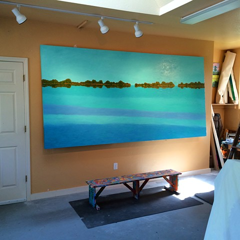 Dolphin Flats by Florida Artist Gary Borse is currently on display at the Hyatt Grand Cypress Hotel in Orlando, FL