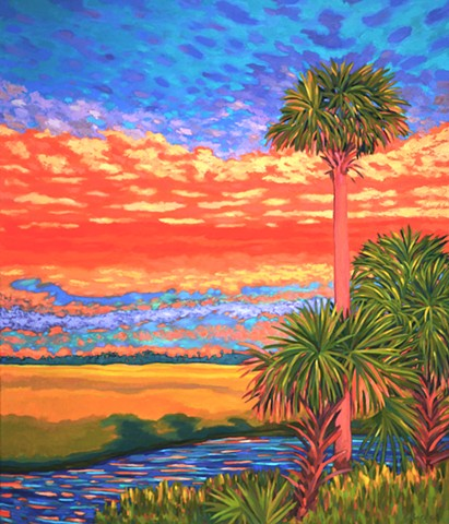 Crimson King painted by Florida Artist Gary Borse available at Lombard Contemporary Art in Orlando Florida