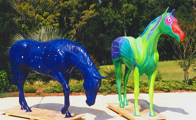 HORSEFEVER Ocala Marion Cultural Alliance 2001 Orion and Paradiso by artist Gary Borse of Fairfield FL
