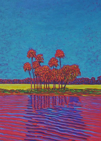Orange Lake Reflection painted by Gary Borse