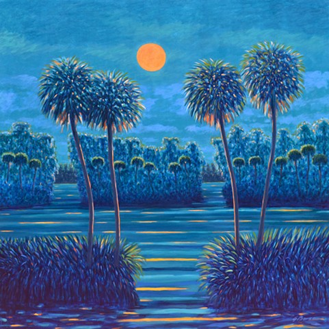 Moonstruck painted by Florida Artist Gary Borse is Available at Plum Contemporary Art Gallery in St Augustine Florida
