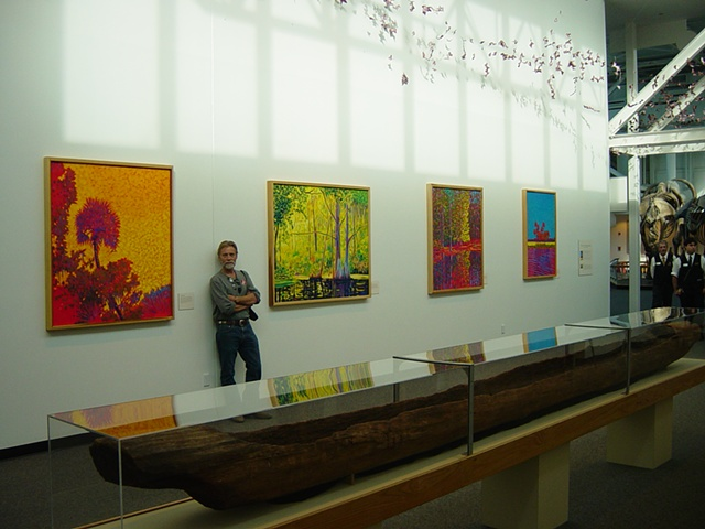 Gary Borse with paintings 2007 at the Florida Museum of Natural History in Gainesville, FL