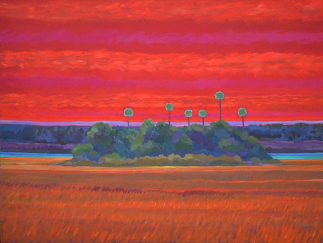 Open Heart Sunset acrylic painting by Florida Artist Gary Borse is available at H. Allen Holmes in Hobe Sound, FL