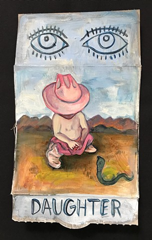 oil painting on snack box little girl in cowboy hat with boots and a snack