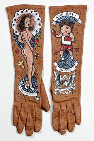 textile artwork, mixed media,vintage leather gloves with tattoo designs, fine art, outsider art, folk art