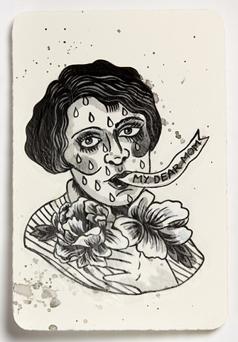 Tattoo flash inspired by traditional tattoo imagery focusing on femininity, mothering and death