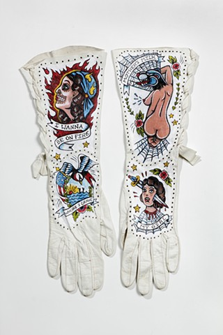 vintage leather gloves with traditional  pinup tattoos