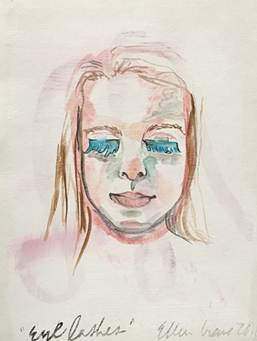 portrait of daughter wearing blue paper eyelashes