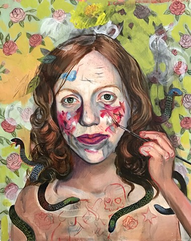 self portrait with painted face, contemporary oil painting, snakes, tattoo