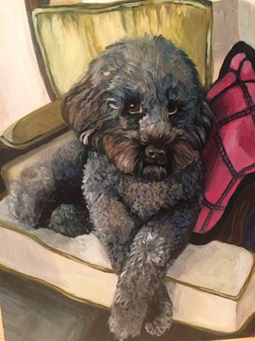 oil painting of dog on chair, commissioned pet portait
