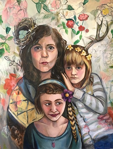 Commissioned oil portrait of mother and two daughters