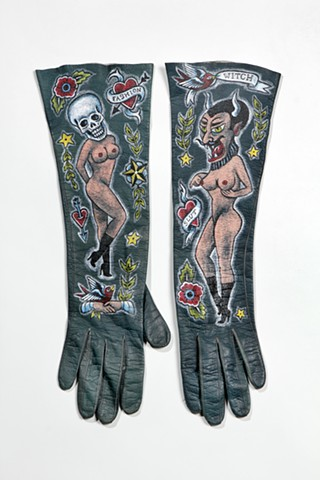 vintage leather gloves hand painted with traditional tattoo images, folk art, outsider art, burlesque, weird, sexy, fashion