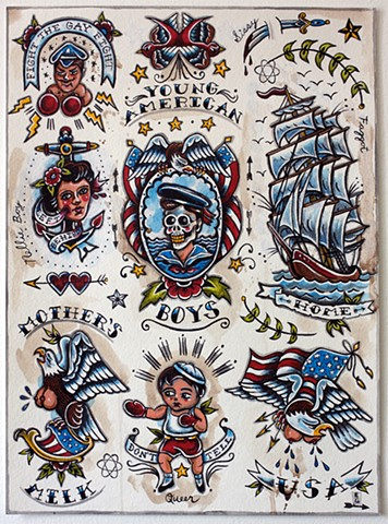 tattoo inspired flash sheet of sailor boy images