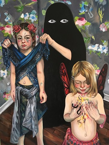 oil painting portrait on canvas with spooky eyes,contemporary art, figurative art, floral wall paper, girls dressing up