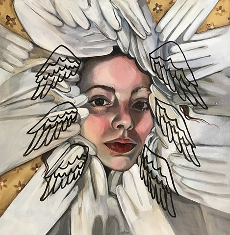 oil painted portrait with face and gloves, wings, contemporary painting, contemporary artist, feminist artist