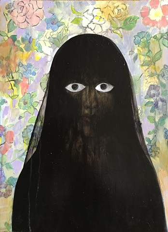 dark veiled woman, rose wall paper, oil painting, eyes, witch, seer, mourning veil
