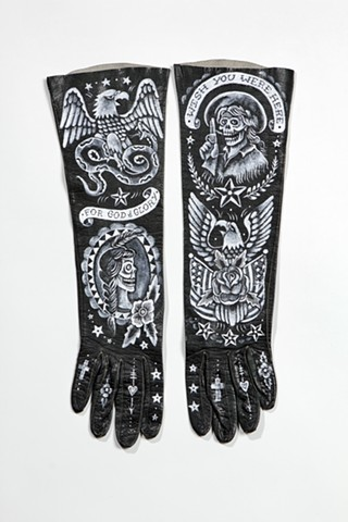 tattoo on vintage gloves with cowgirl, american eagle and indian skull girl