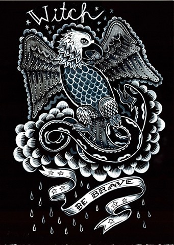 tattoo flash painting of an eagle with the word witch above it