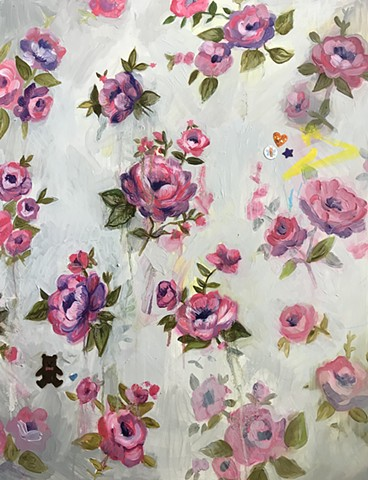 floral wall paper with vintage roses, contemporary artist, oil painting, pink and purple
