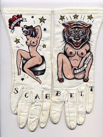 vintage leather gloves with  pin up traditional tattoo inspired images, mothering, birth, love,
