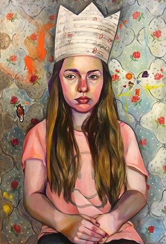 oil portrait with patterned wall paper and paper crown, figurative oil painting, contemporary art contemporary painting