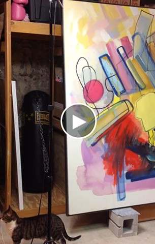 VIDEO - Setting up for my Open Studio…Large paintings plus cat cameo.