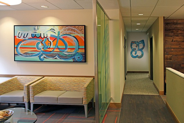 "Installation view of ""Butterfly in Landscape no.3"" (on left) and ""Abstract Butterfly"" (on right)"