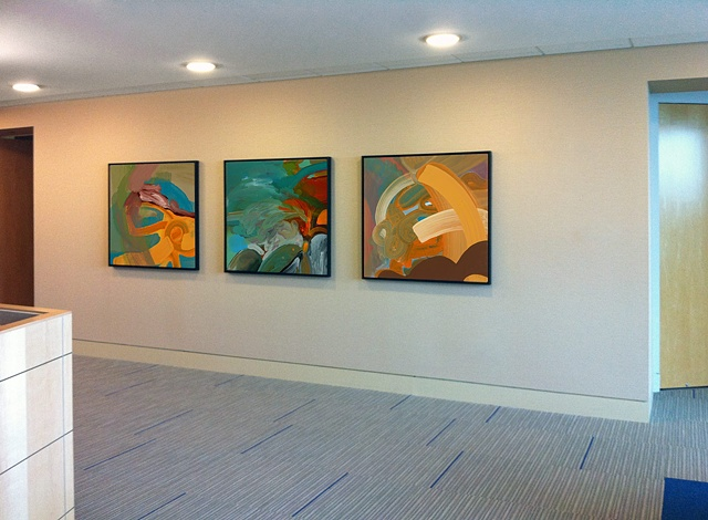 "Installation view of ""Bow"" ""Tropical Landscape"" and ""Splash"""