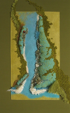 """Appalachian Passage"" is a Nuno felted mixed media piece of contemporary fiber art by Linda Thiemann."