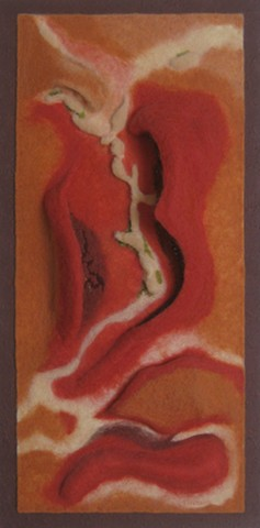 """Evoking Memories of Mars"" is a  felted mixed media piece of contemporary fiber art by Linda Thiemann."