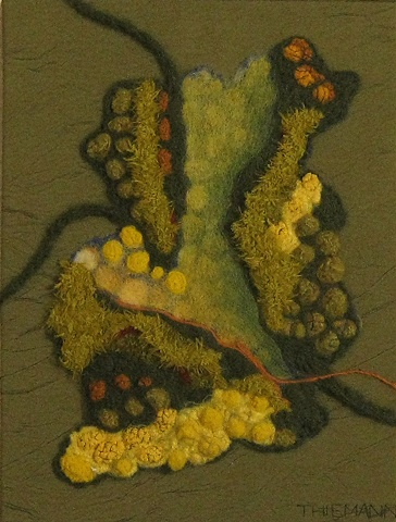 """Going Green"" is a felted mixed media piece of contemporary fiber art by Linda Thiemann."