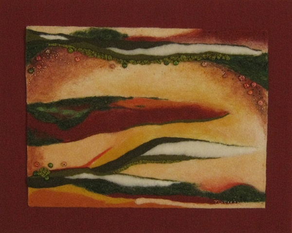 """Presidio Pass"" is a felted mixed media piece of contemporary fiber art by Linda Thiemann."