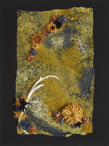 """Sea Urchins and Sharks"" is a Nuno felted mixed media piece of contemporary fiber art by Linda Thiemann."