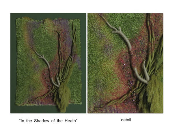 """In the Shadow of the Heath"" is a Nuno felted mixed media piece of contemporary fiber art by Linda Thiemann."