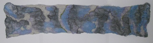 Gray, Blue, and Purple Nuno Felted Scarf