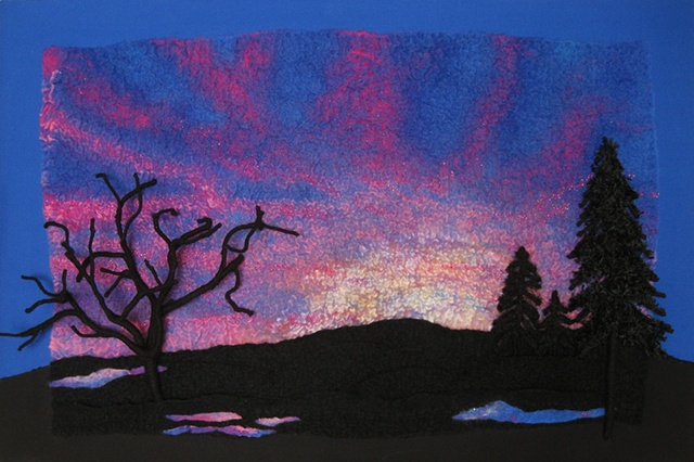 """Red Sky at Night"" by Linda Thiemann is a Nuno felted piece of contemporary fiber art."