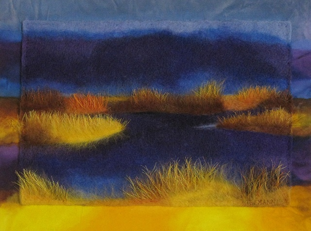 """The Marshland"" is a felted mixed media piece of contemporary fiber art by Linda Thiemann."