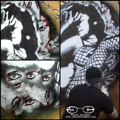 6ft one color stencil based off one of Last Witness pin up photos.. along with smaller one color versions and another3-4 color half face stencil based off another photo