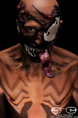 MUA Alice Steel interpretation of Venom assisted by Jion Ku tongue fabricated by Ashley Ferraro (custom shape strobe for chest by me)