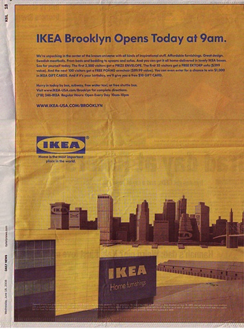 IKEA Newsprint Ad for the Brooklyn grand opening
